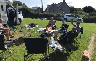 Family camping at tregavone