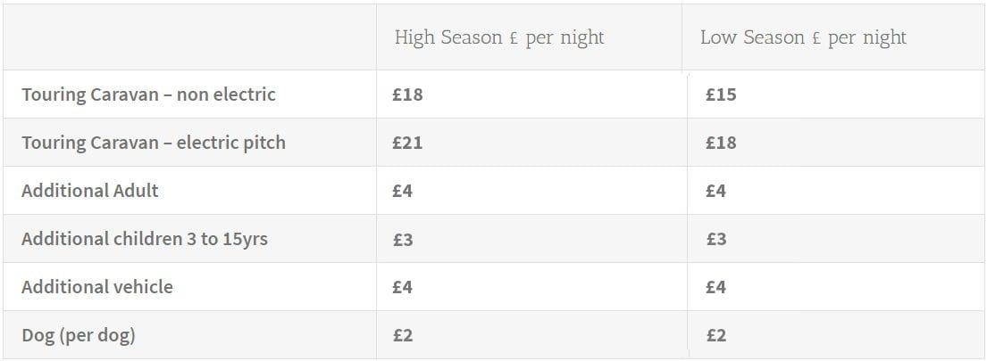 Caravan Price List